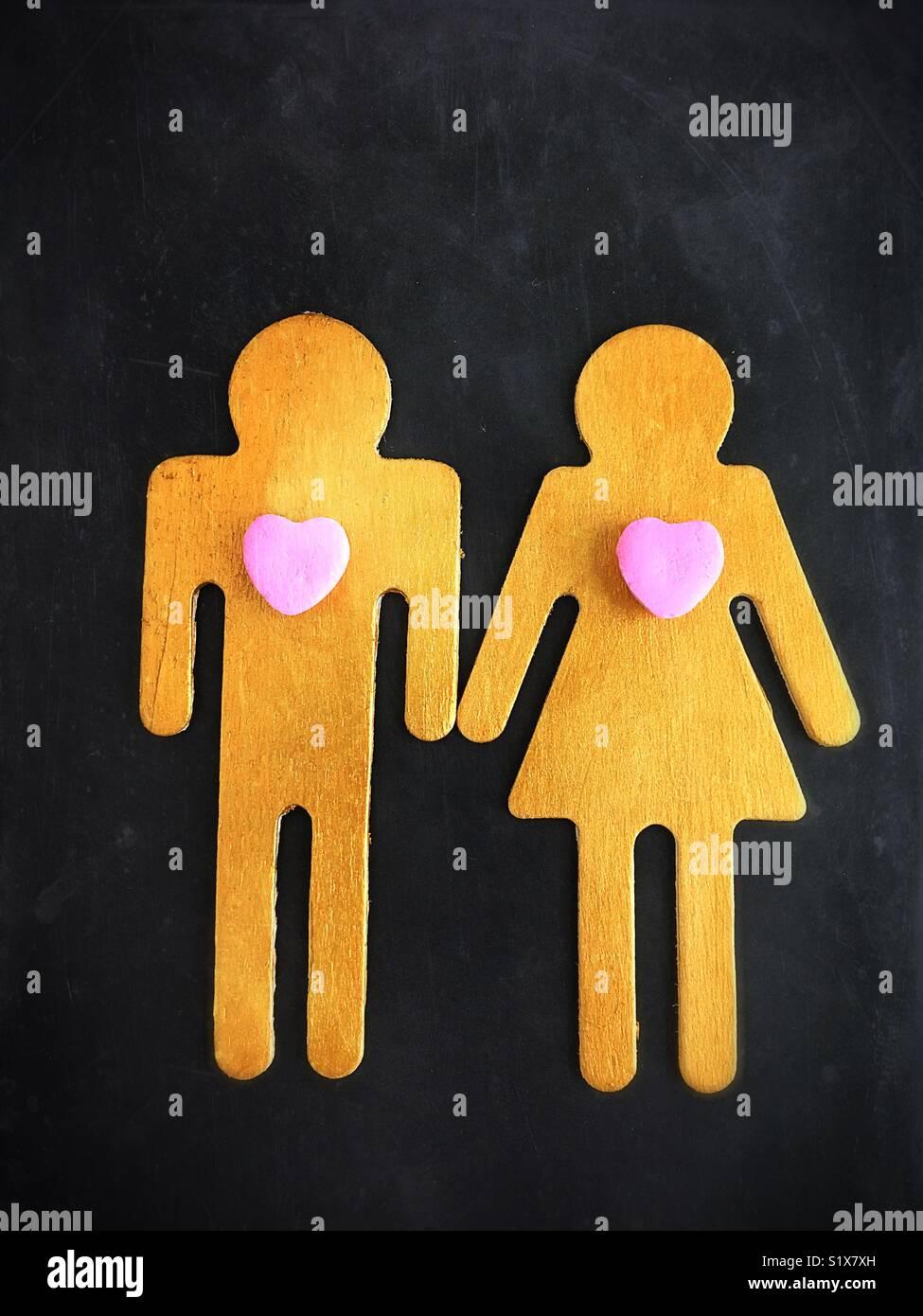 Cadre conceptuel: l'amour. Photo Stock
