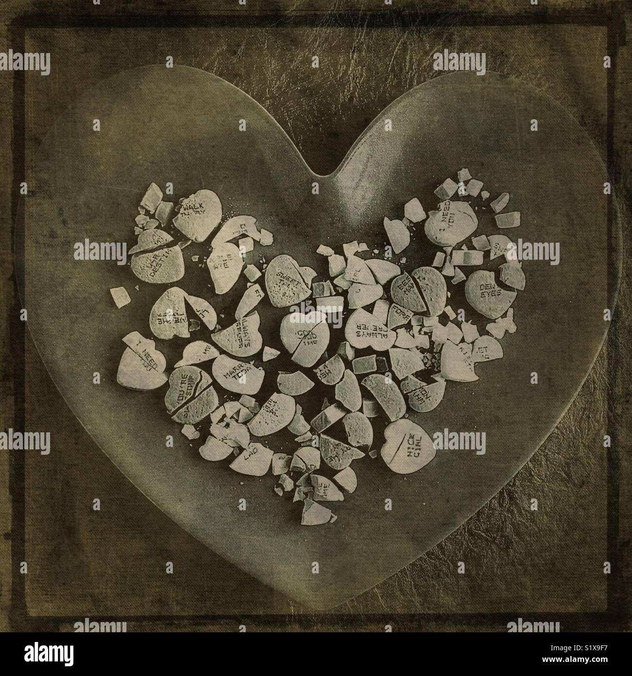 Bonbons coeur brisé. Banque D'Images
