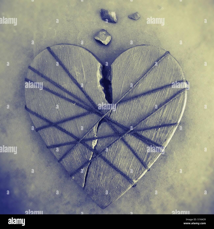 Un cœur brisé. Photo Stock