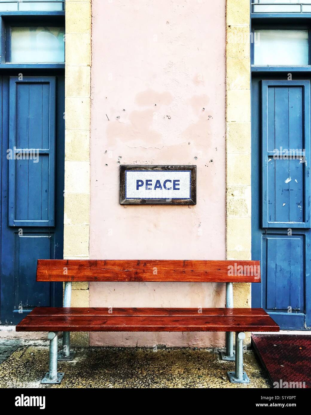 À la rue Ledra, passage de la frontière nord de Nicosie, Chypre Photo Stock