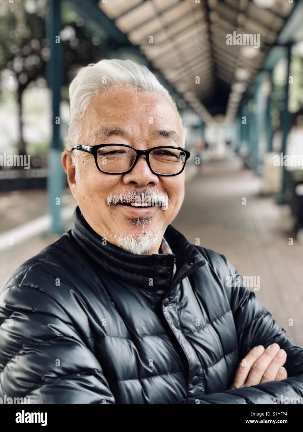 Portrait d'un homme plus âgé à Hong Kong Photo Stock