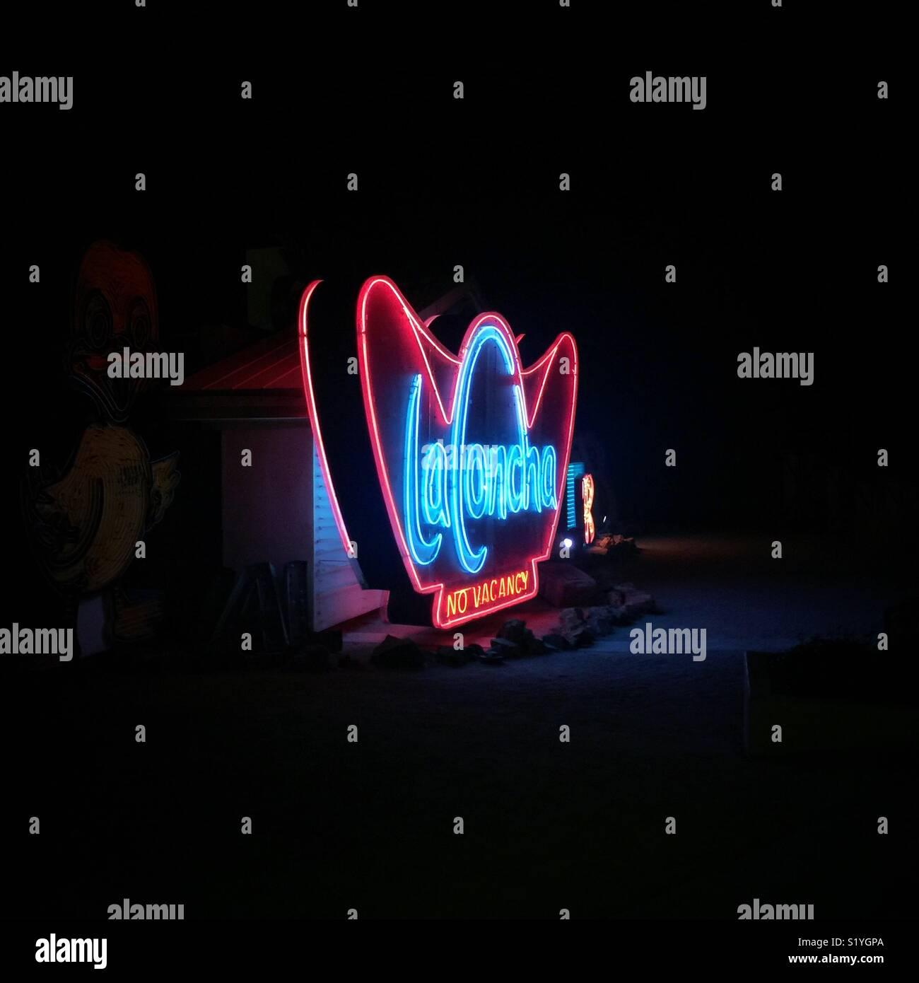 Vintage en néon La Concha aucune vacance dans Las Vegas Photo Stock