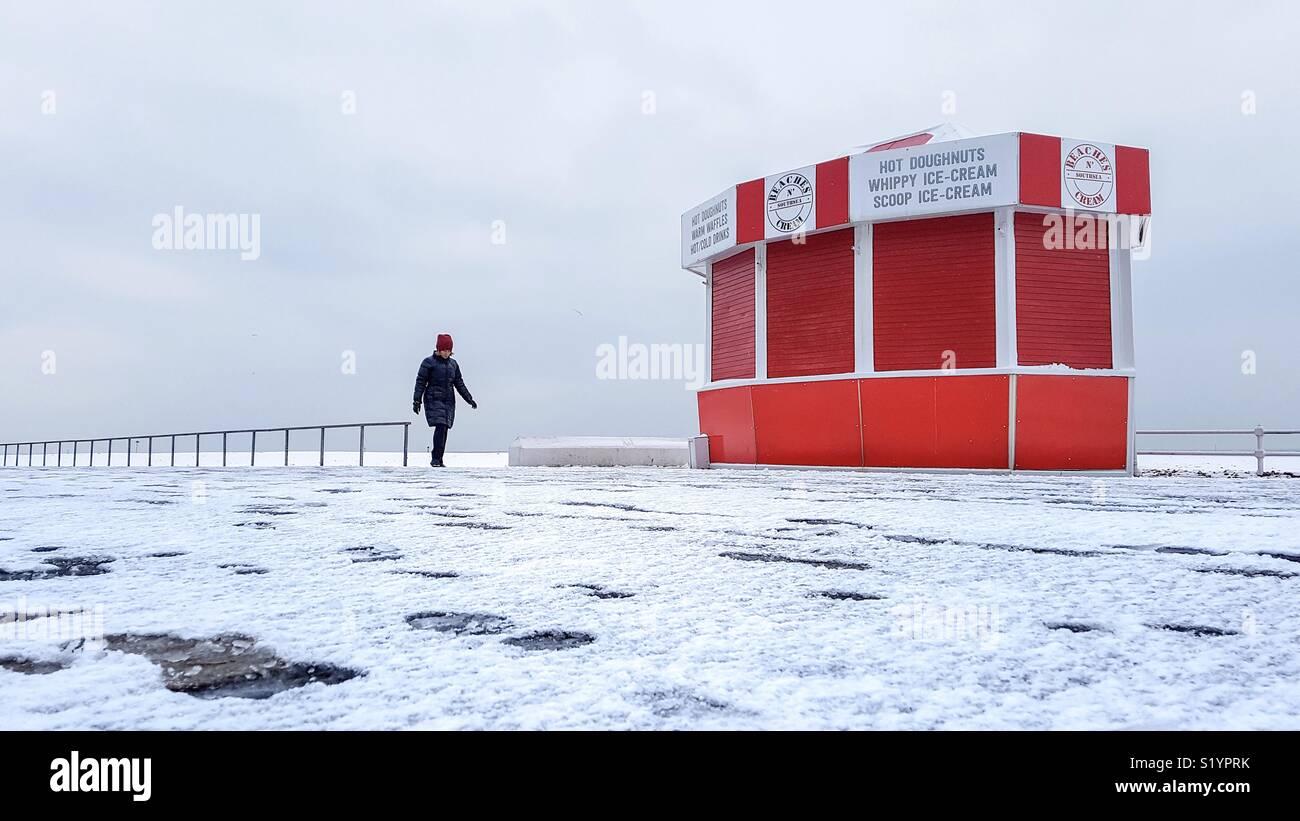 Tôt le matin, à pied en hiver Photo Stock