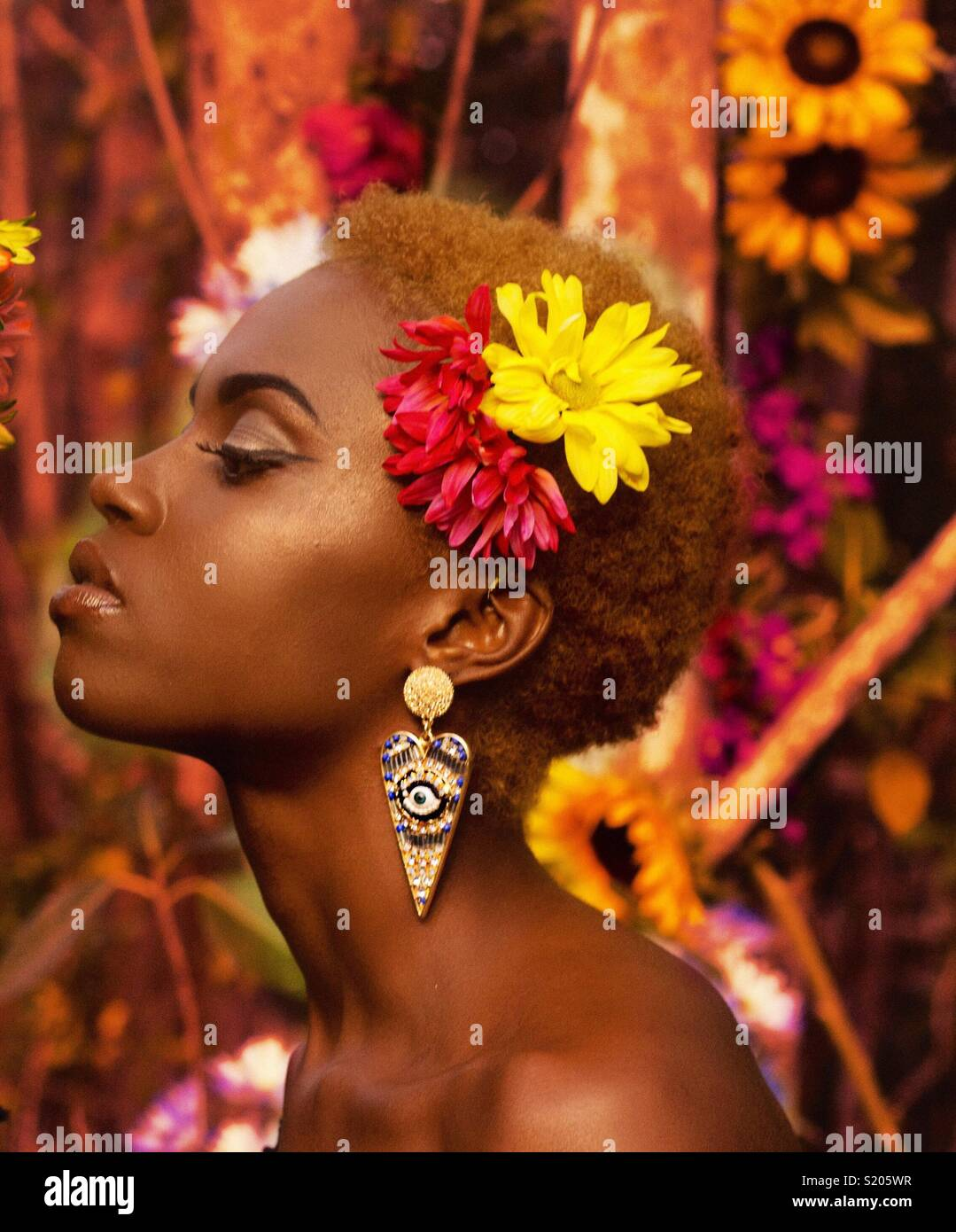 Femme fleur Photo Stock