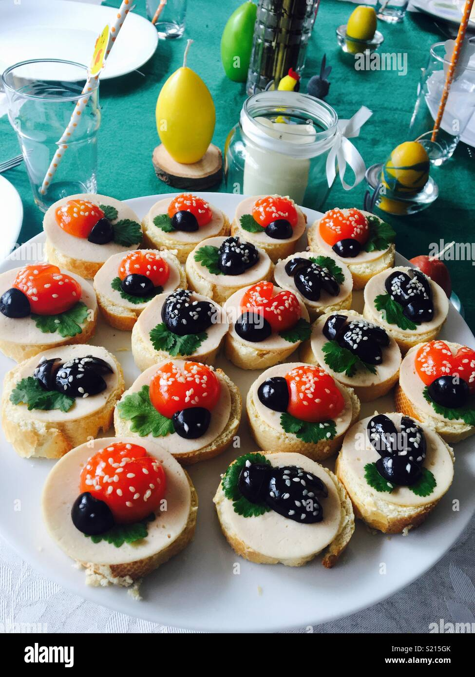 Coccinelle kids party food/ sandwiches Photo Stock