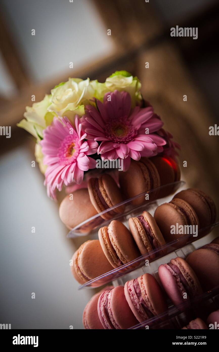 Gâteau de mariage macaron Photo Stock