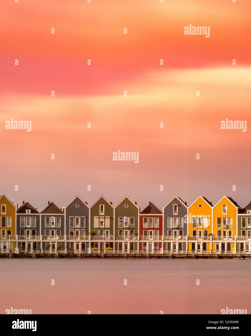 Maisons colorées, Pays-Bas Photo Stock
