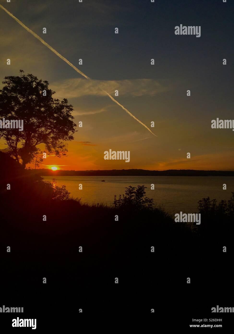 Coucher du soleil à Brixham Photo Stock