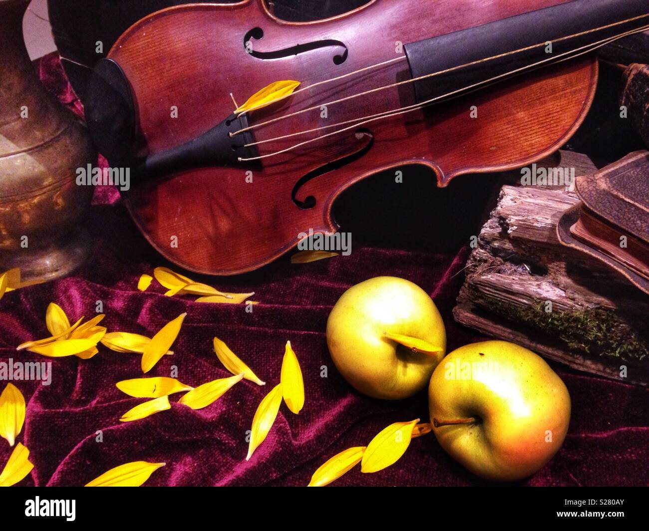 Nature morte au violon Banque D'Images