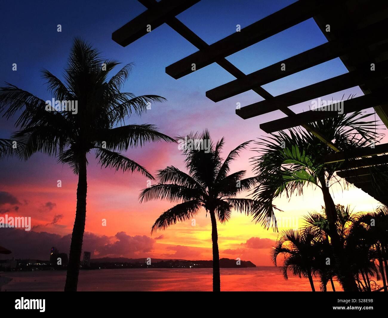 Coucher de Guam Photo Stock