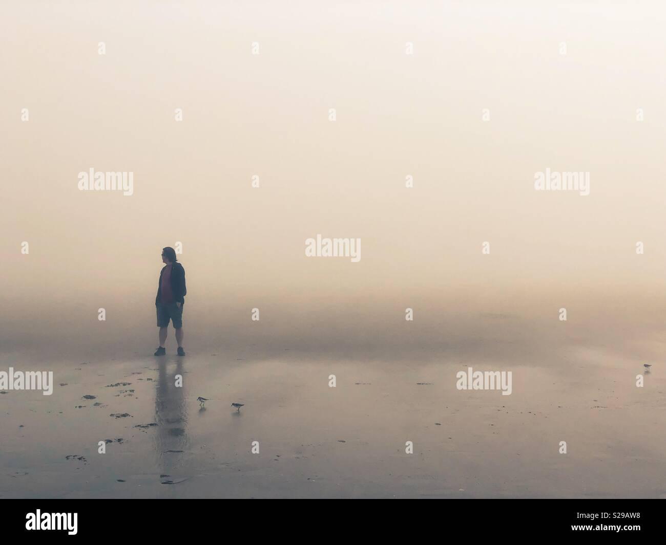 Un homme debout seul sur une plage de brouillard. Photo Stock