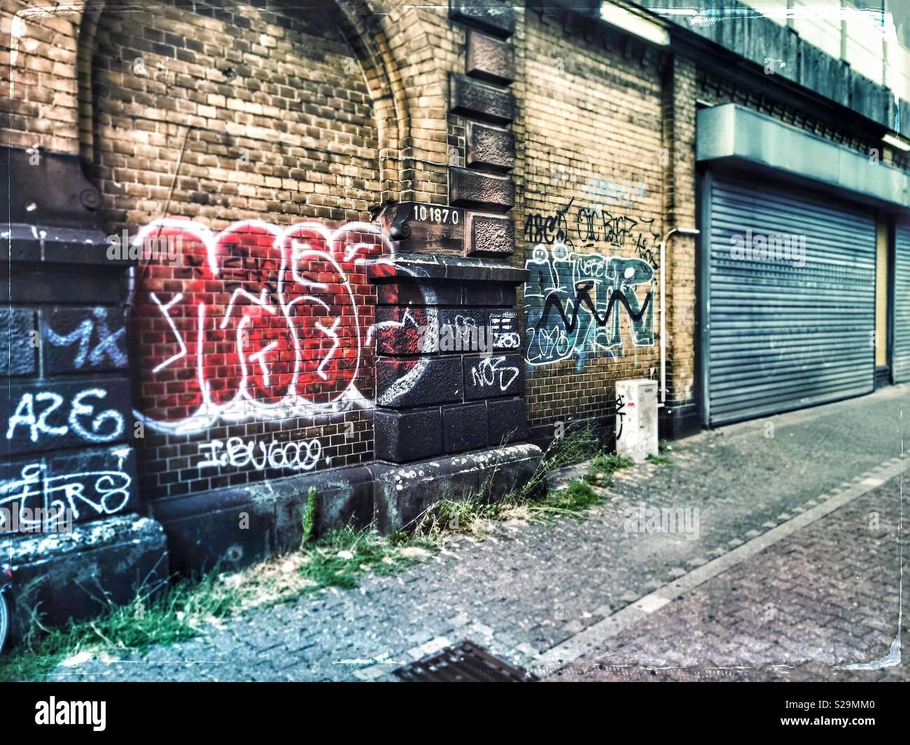 Graffiti dans Düsseldorf - Allemagne Photo Stock