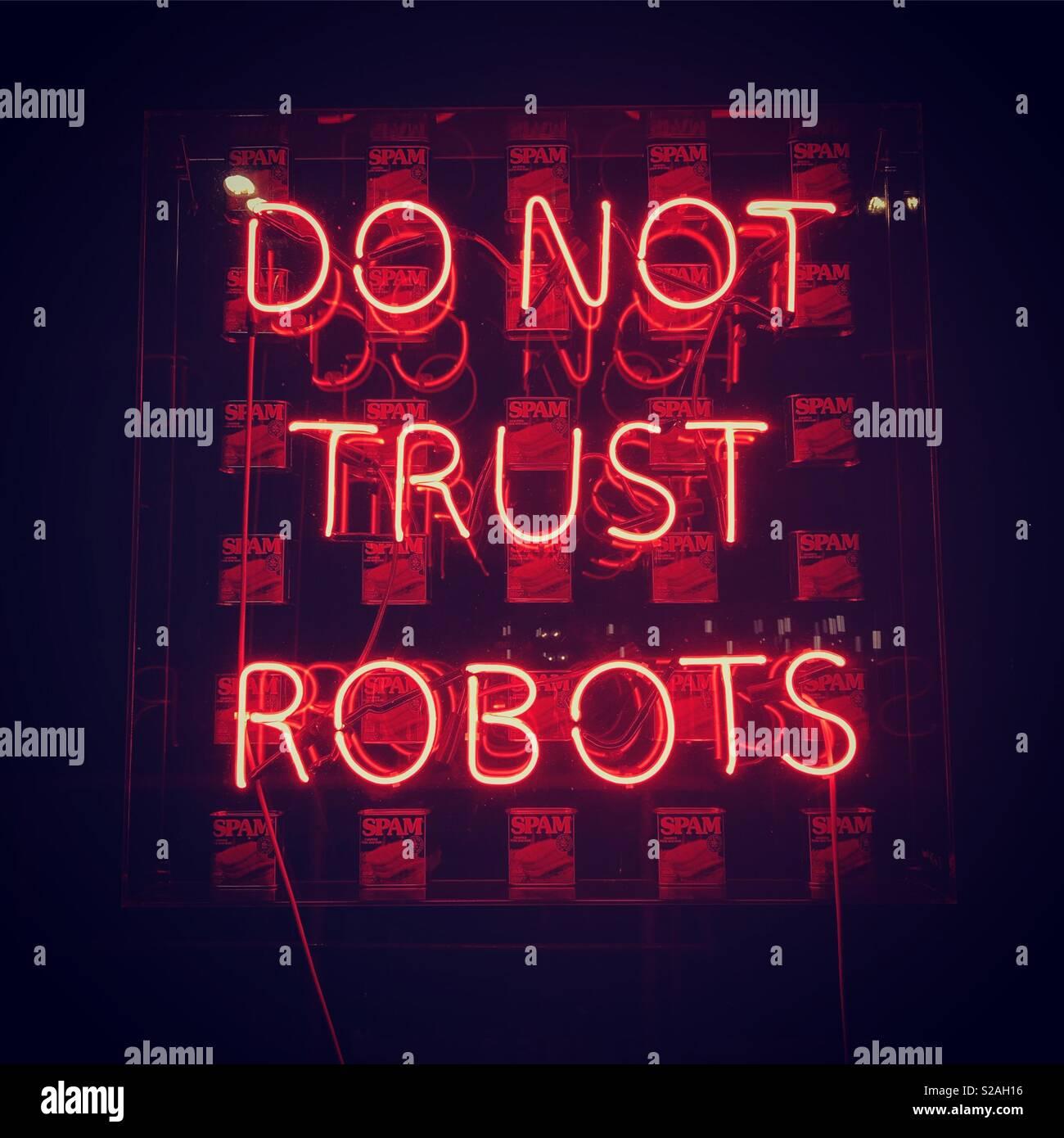 Ne faites pas confiance à des robots 🤖 Photo Stock