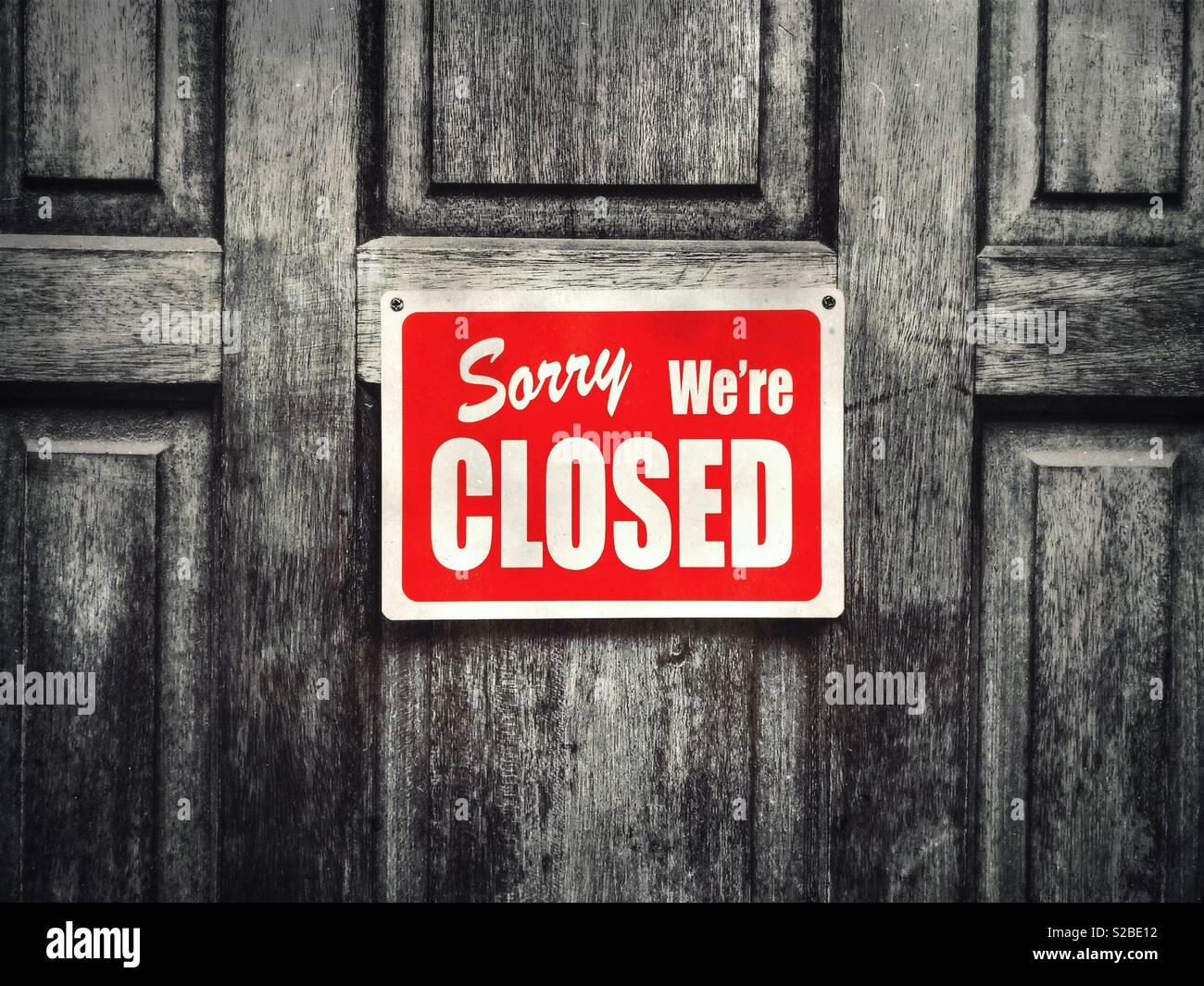 Désolés nous sommes closed sign Photo Stock