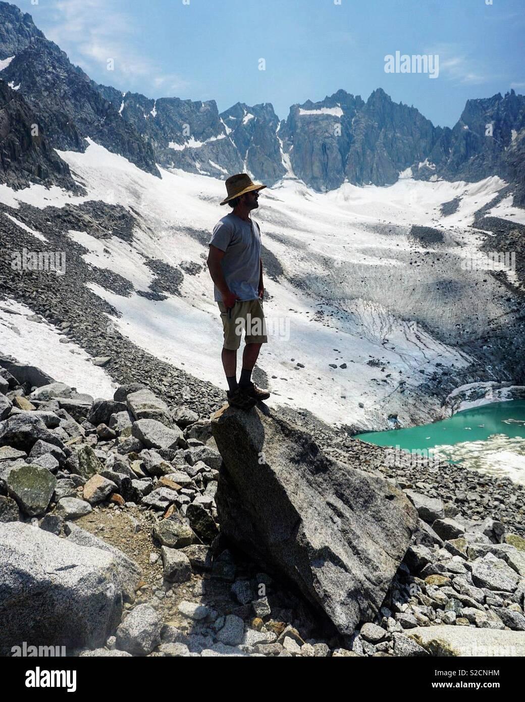 Justin Ferguson au Glacier de la palissade Banque D'Images