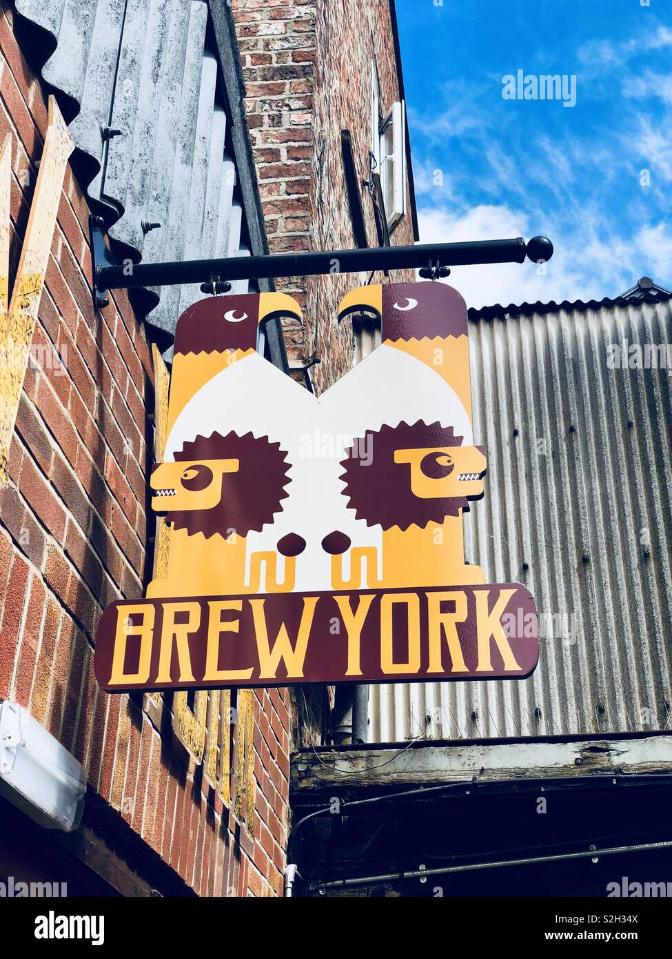 New York New York en signalisation Brew. Banque D'Images