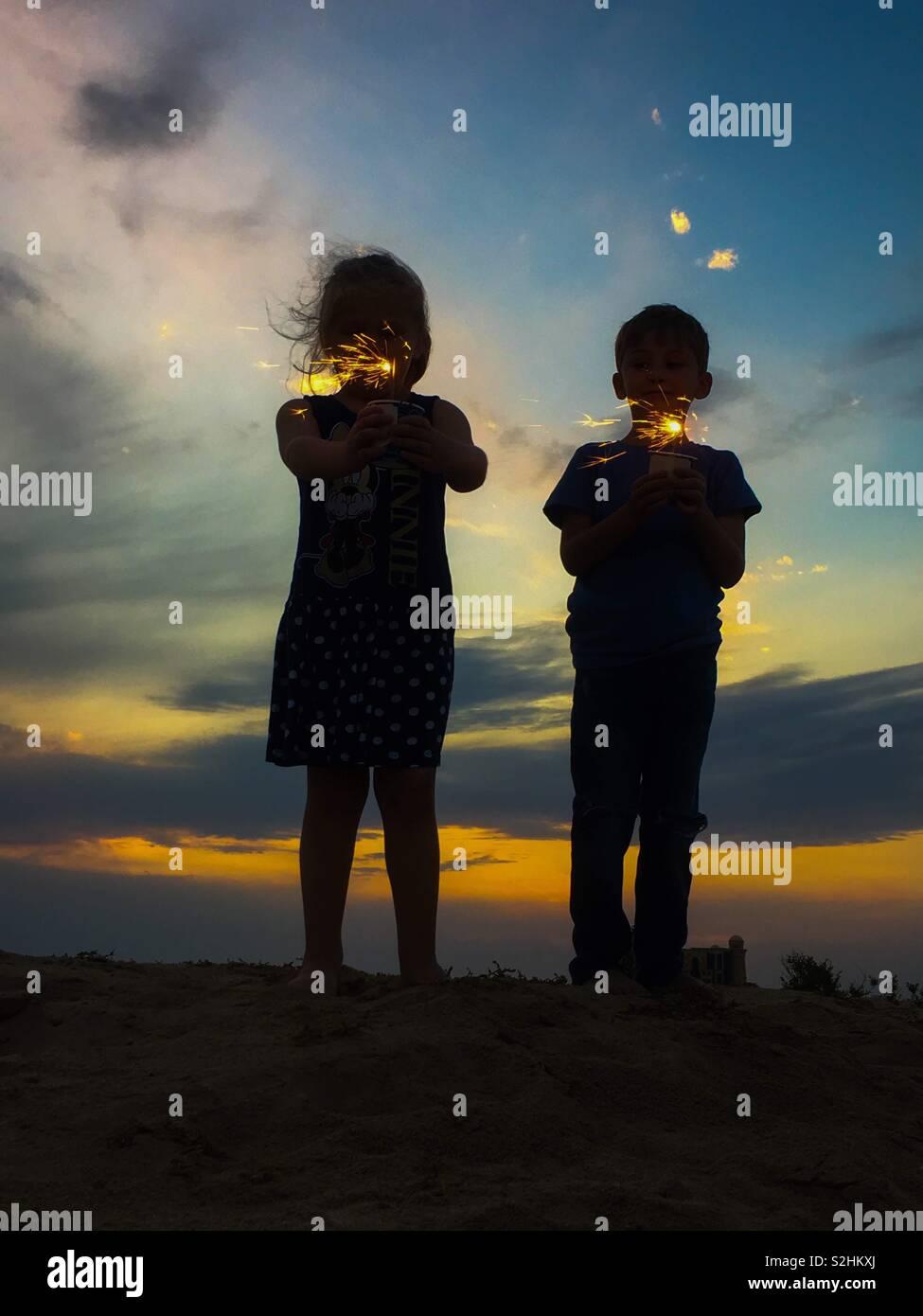 Cierge magique sillouet Photo Stock