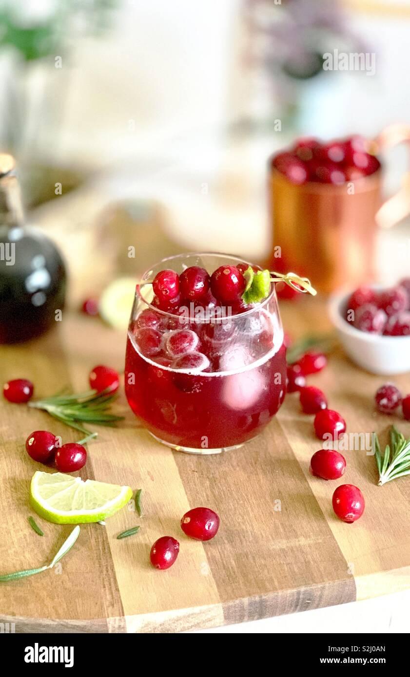 Le jus de canneberge cocktails sans alcool Photo Stock