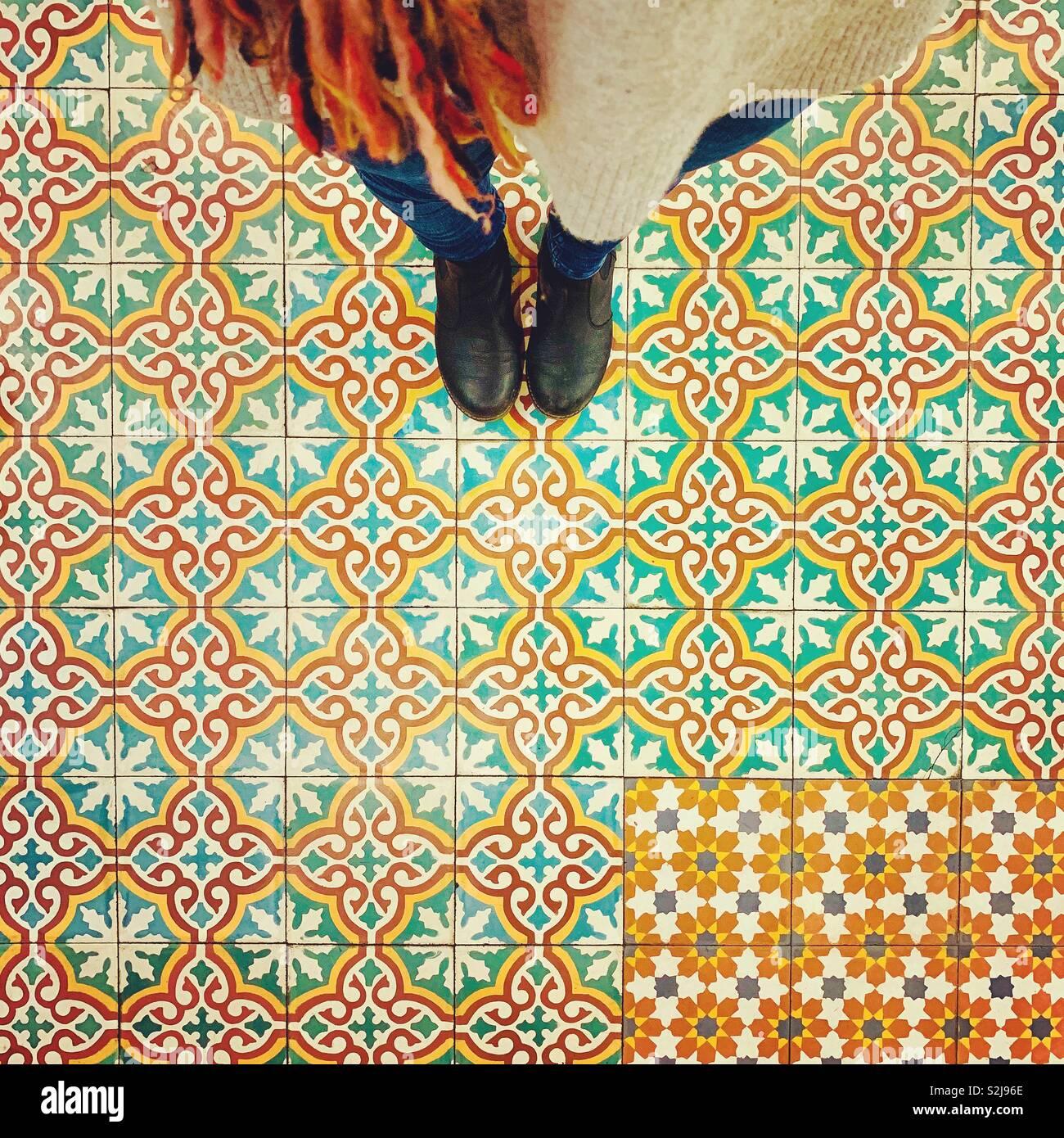 Comptoir en carreaux de sol libanais Photo Stock