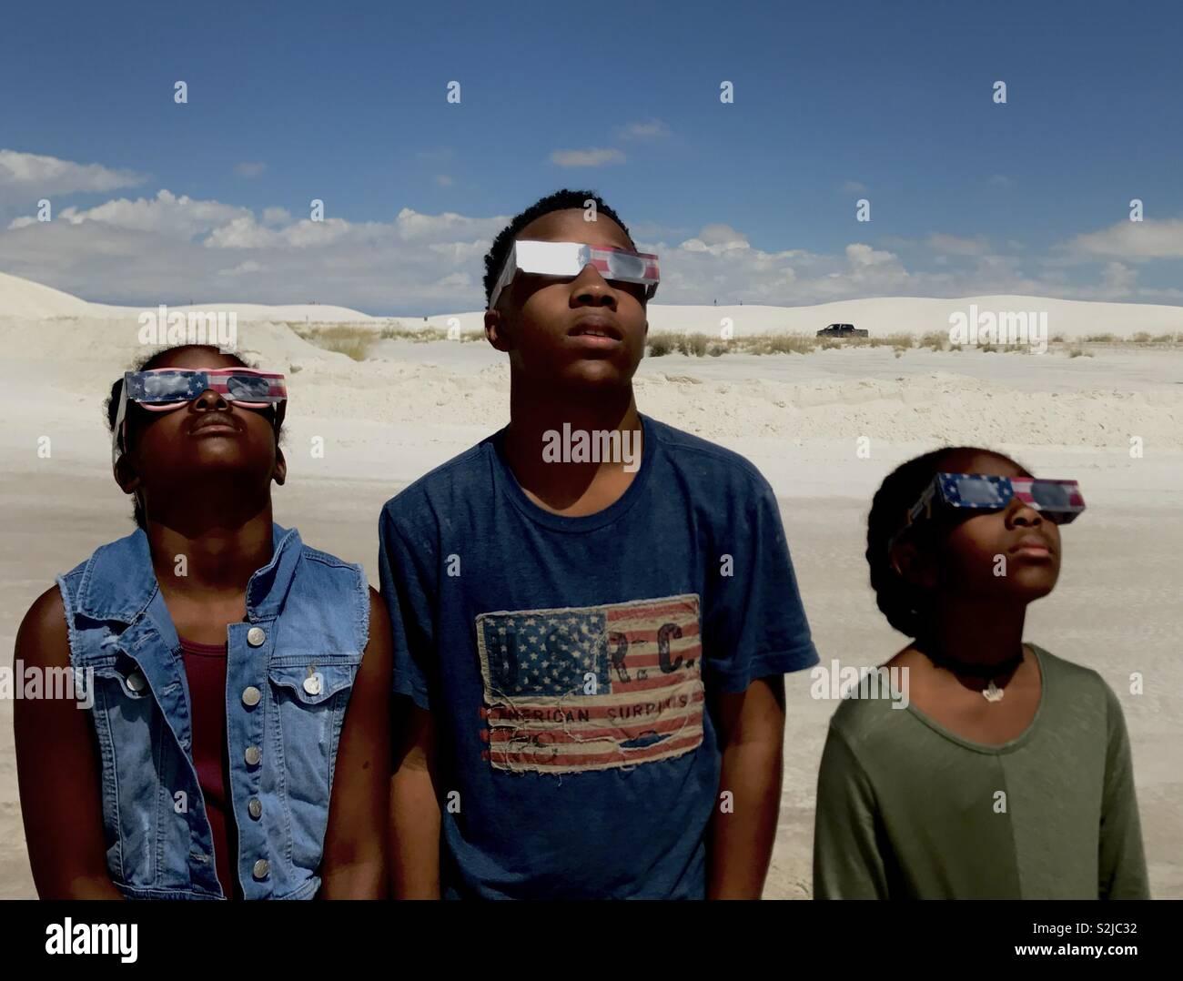 Éclipse de 2017 Vue du White Sands National Park, Alamogordo, Nouveau Mexique. Photo Stock