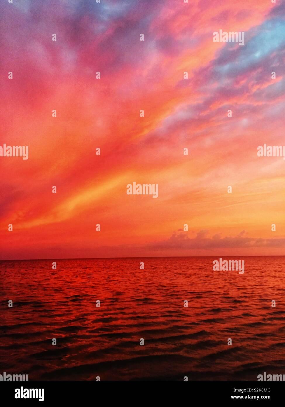 Coucher du soleil à Avon, NC Photo Stock
