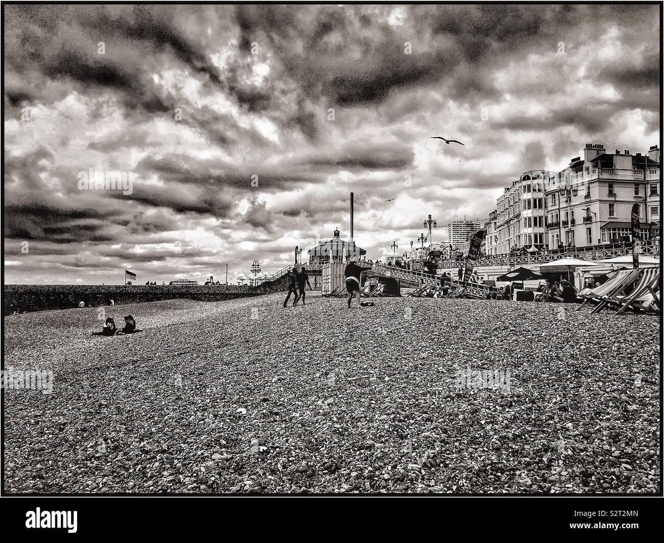 La plage de Brighton. Photo Stock