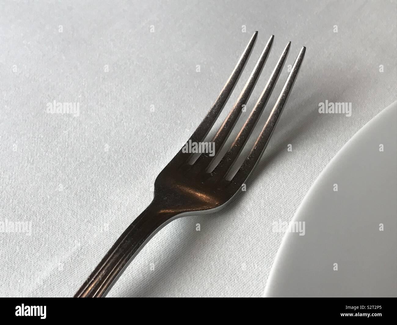 Set table sur la fourche Photo Stock