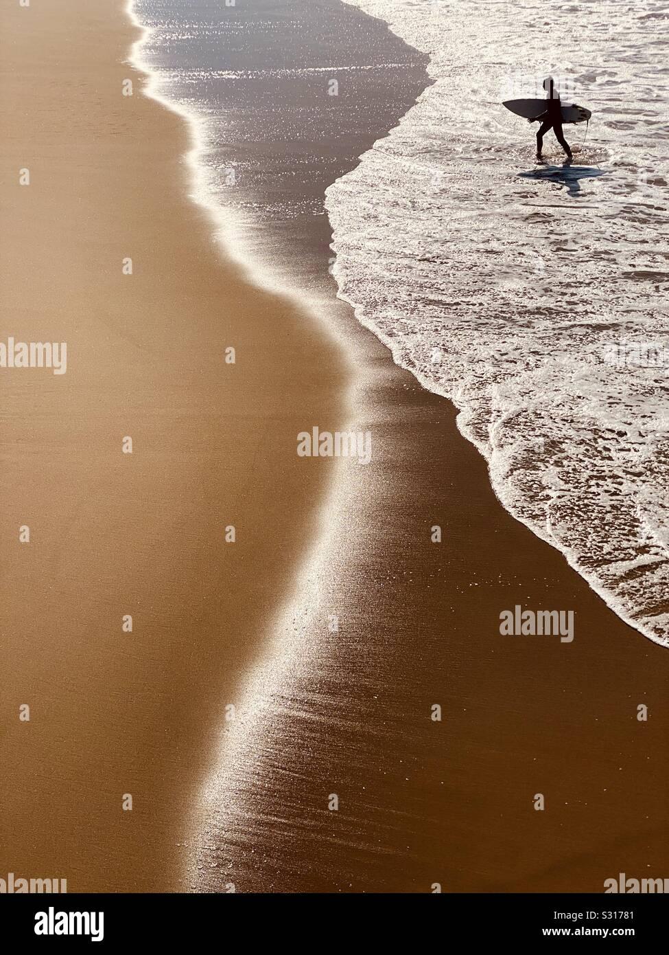 Surfer sortir de l'eau après le surf. Manhattan Beach, Californie, États-Unis. Banque D'Images