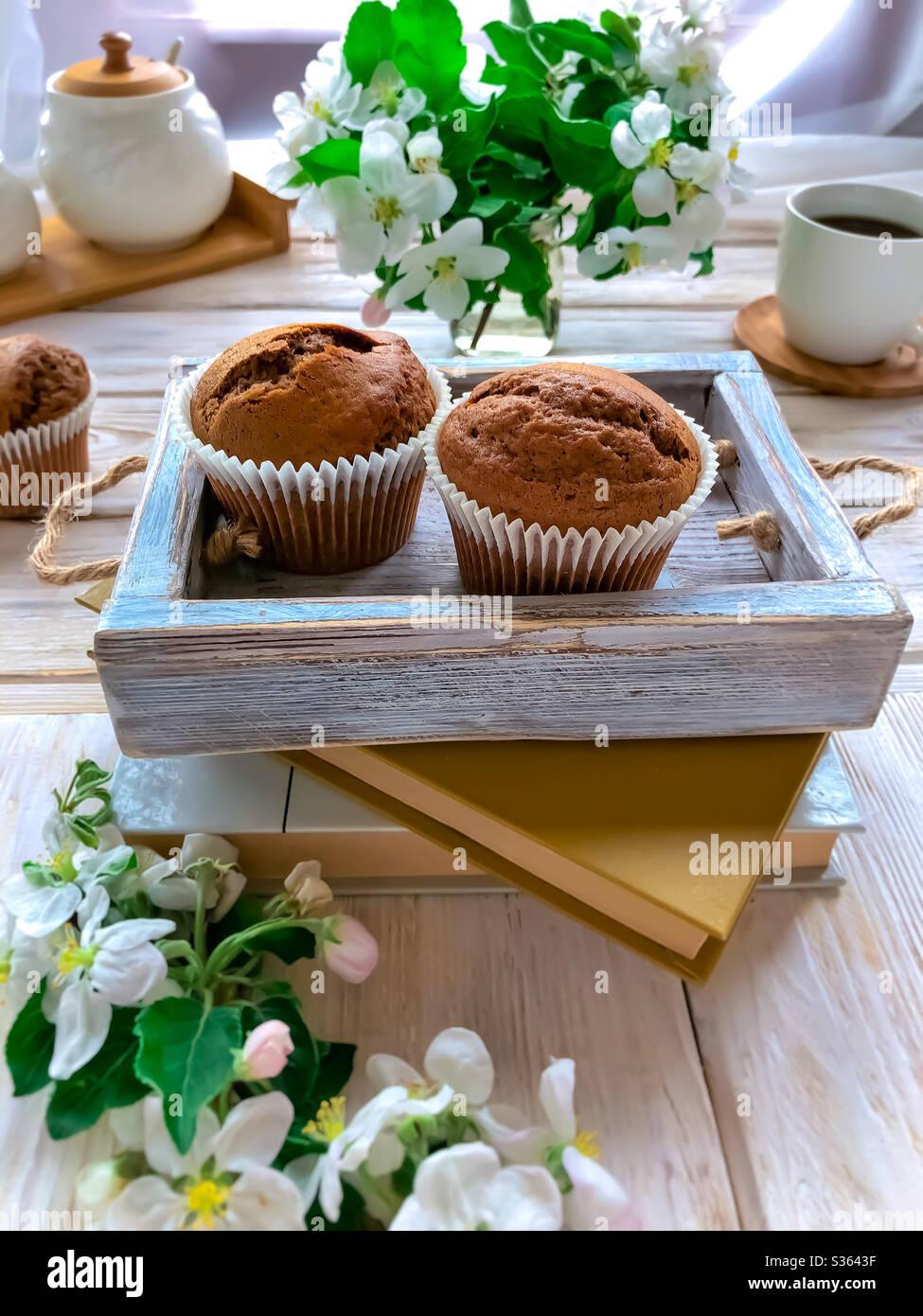 Muffins au café faits maison Banque D'Images