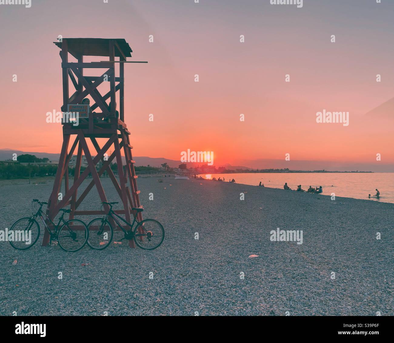Coucher du soleil en Grèce Banque D'Images