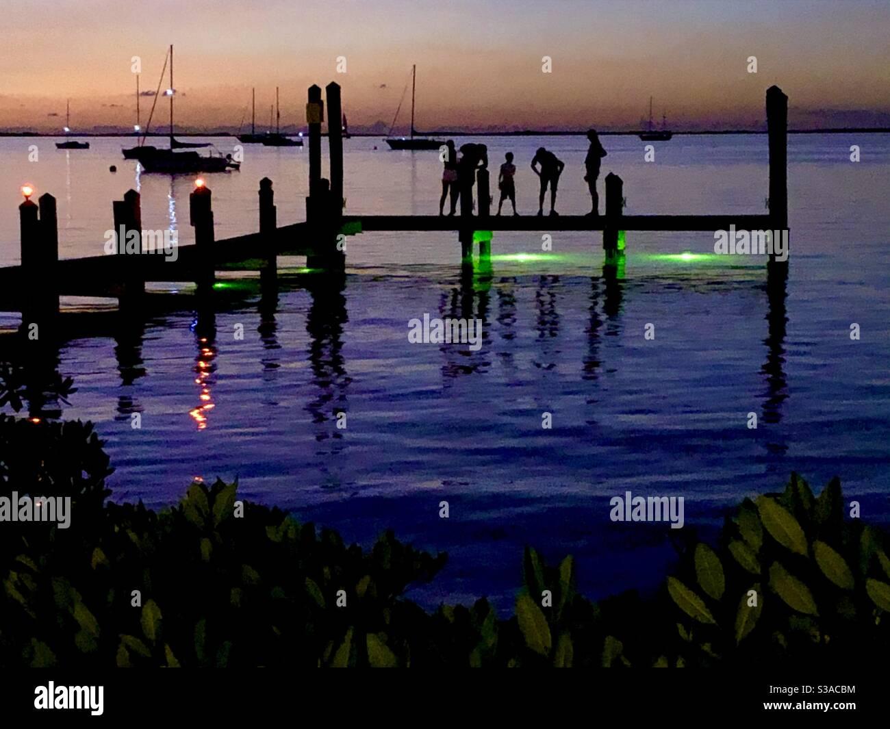 Silhouette de plusieurs personnes debout sur un quai après le coucher du soleil avec des voiliers dans l'eau. Banque D'Images