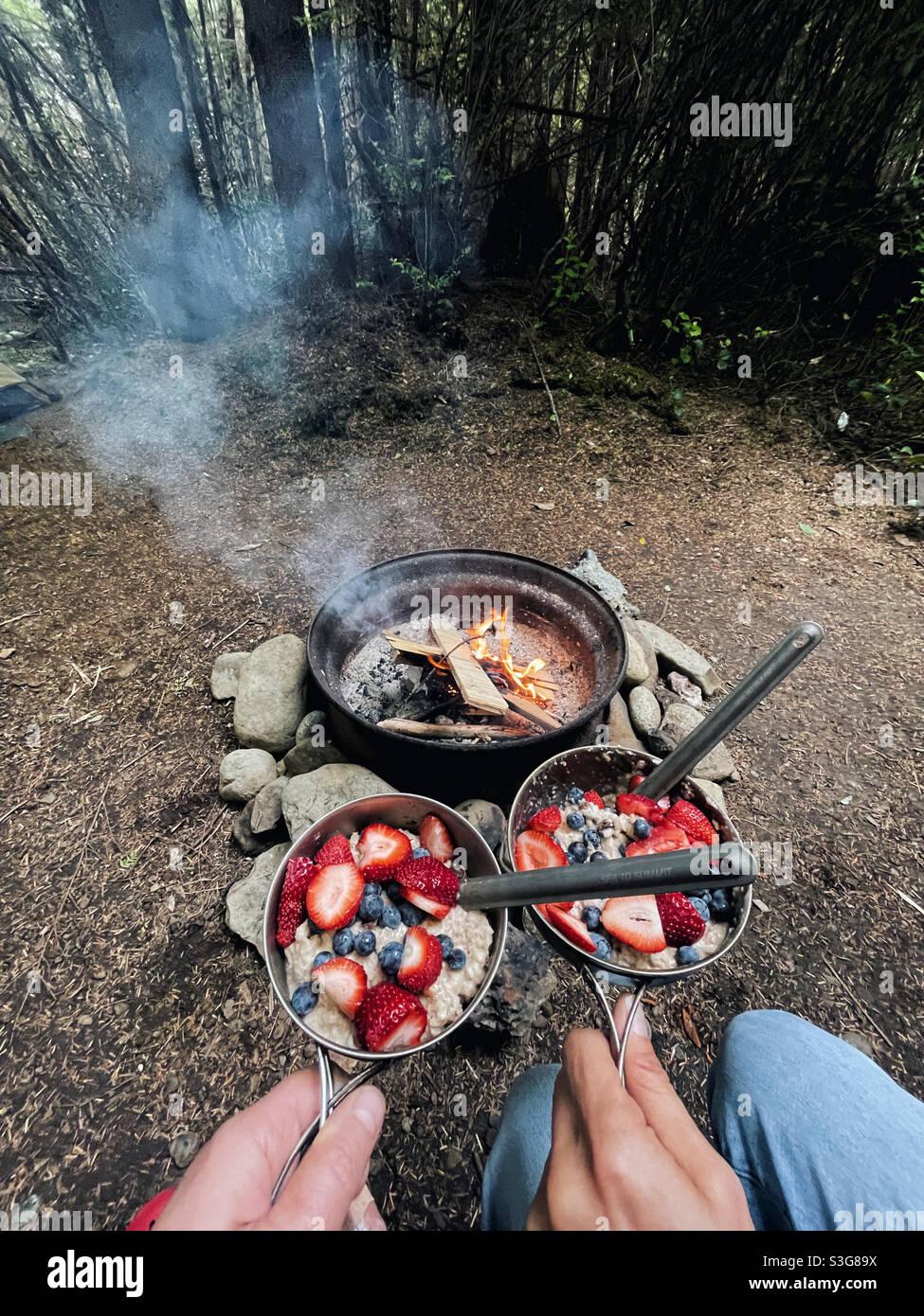 Petit déjeuner dans le camping forestier, Parc National Olympique Banque D'Images