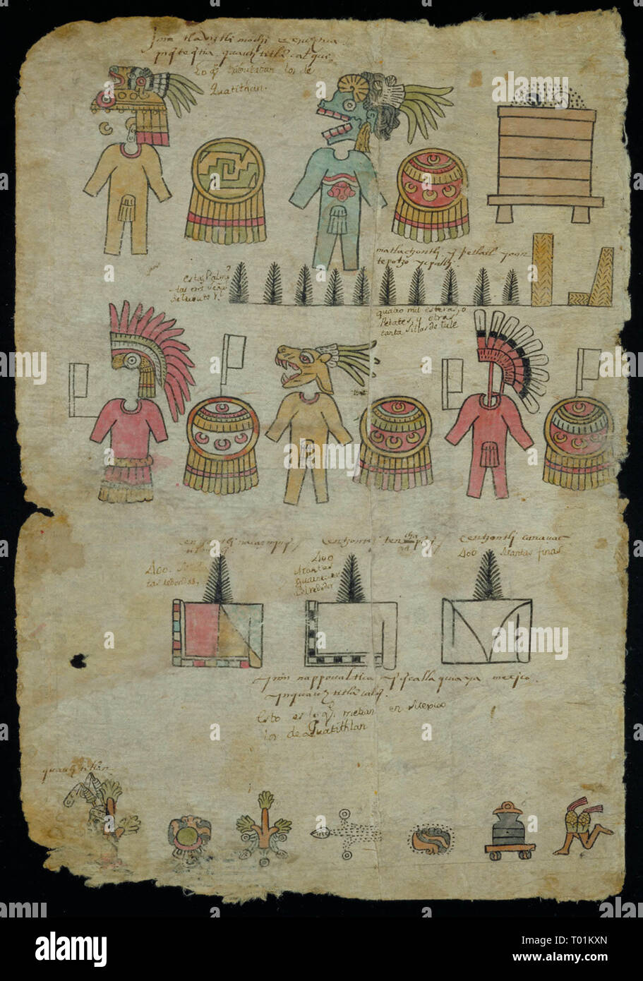 Un Matrícula de tributos, datant de 1522-1530 CE. Il est écrit en nahuatl classique et a été retrouvée dans la ville de Mexico Banque D'Images