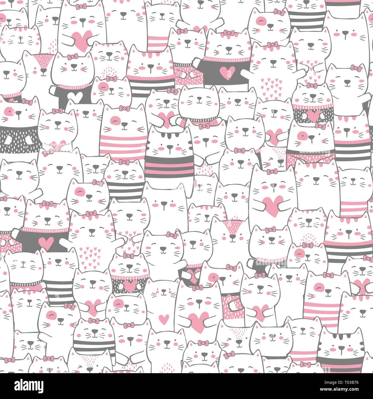 Cute Cats Seamless Pattern Style Moderne A La Main Design
