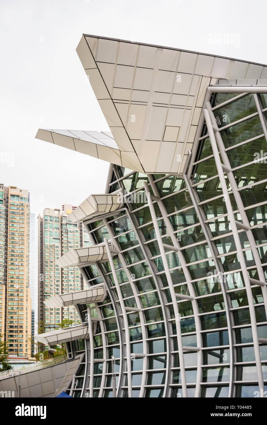 Façade de l'ouest de Hong Kong, à l'Ouest gare de Kowloon Kowloon, Kowloon, Hong Kong Banque D'Images