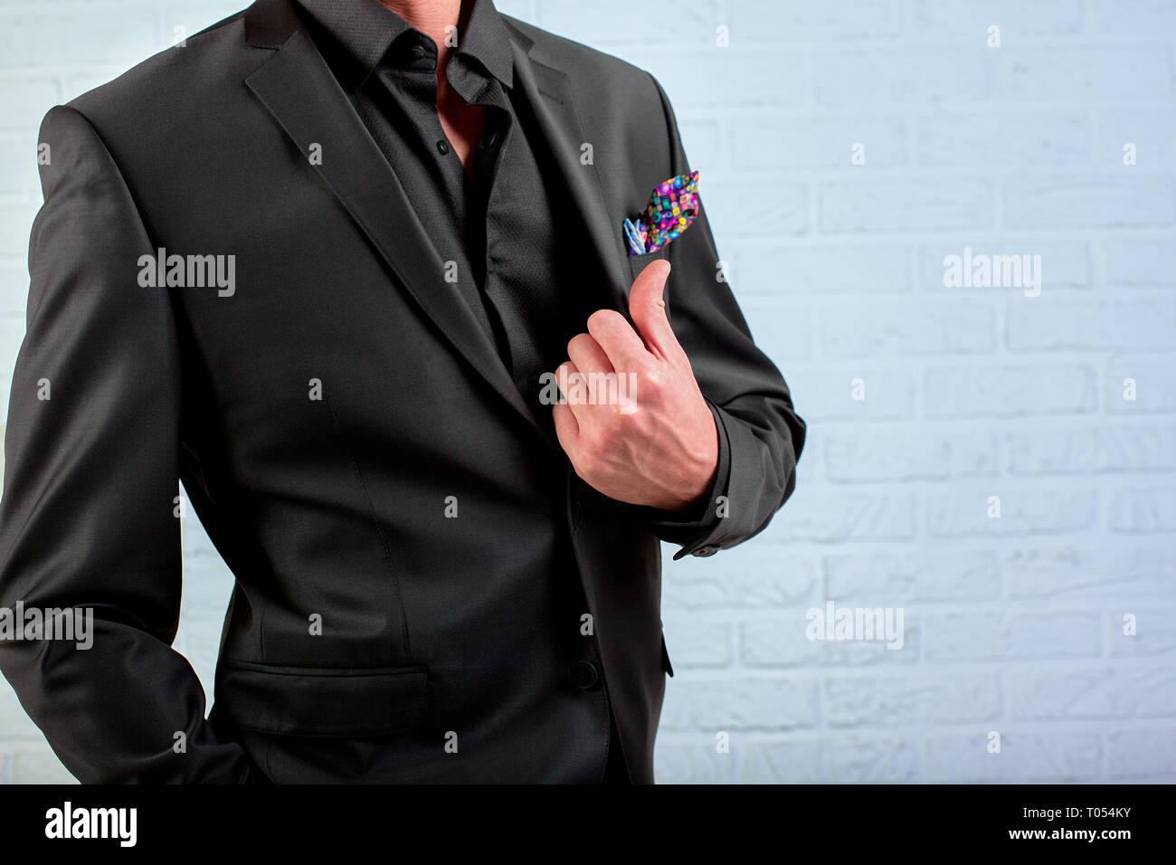 Section centrale d'une smart businessman wearing a suit. Photo Stock
