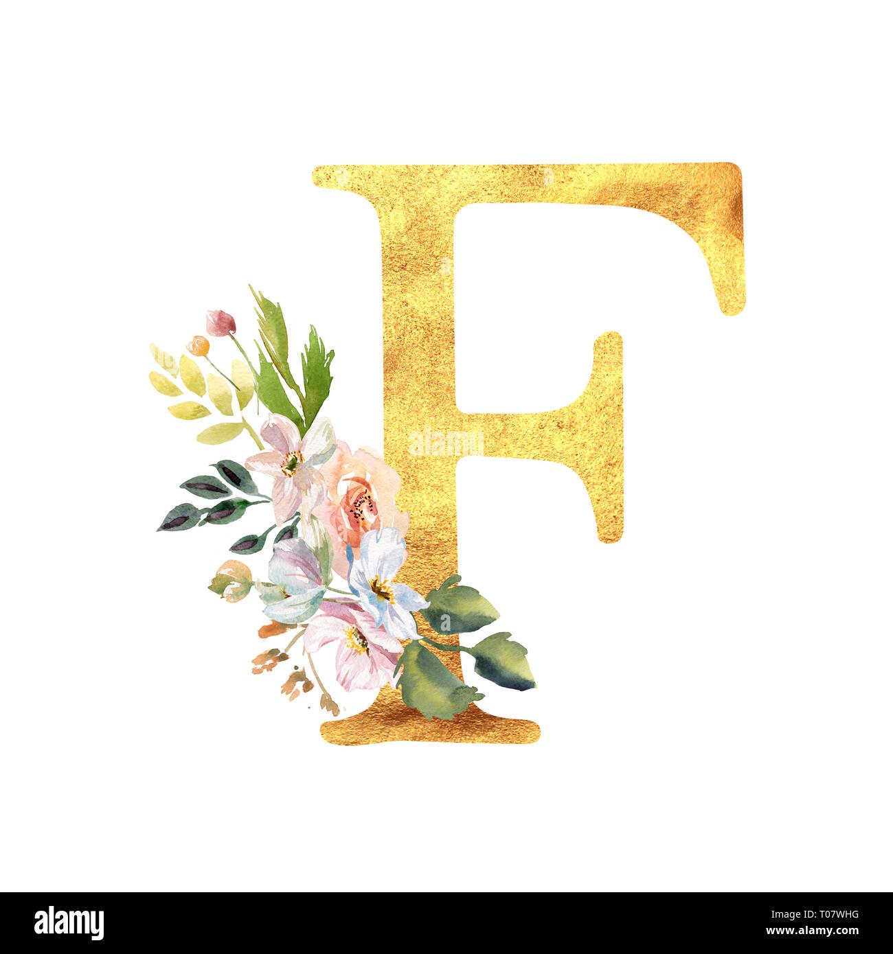Or Une Lettre Romantique Avec Fleurs Aquarelle Dessiné