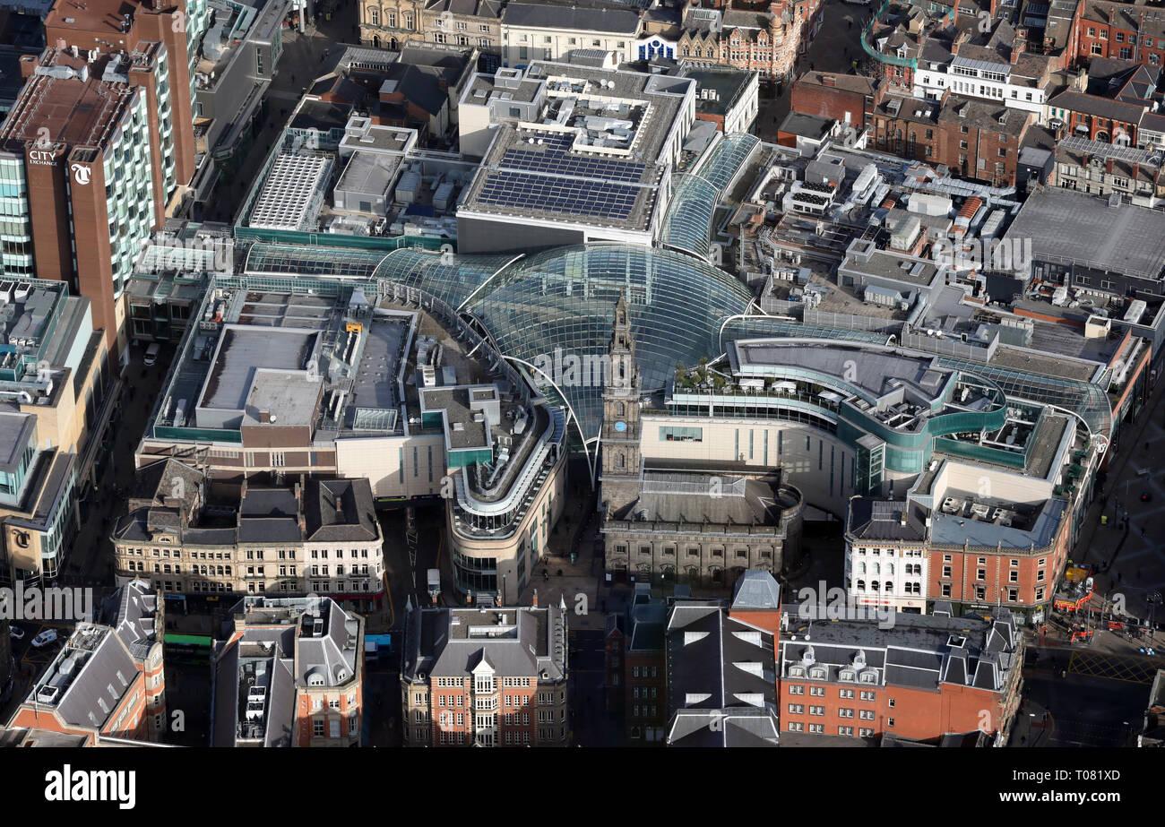 Vue aérienne du centre commercial Trinity Leeds, Leeds, West Yorkshire, Royaume-Uni Photo Stock