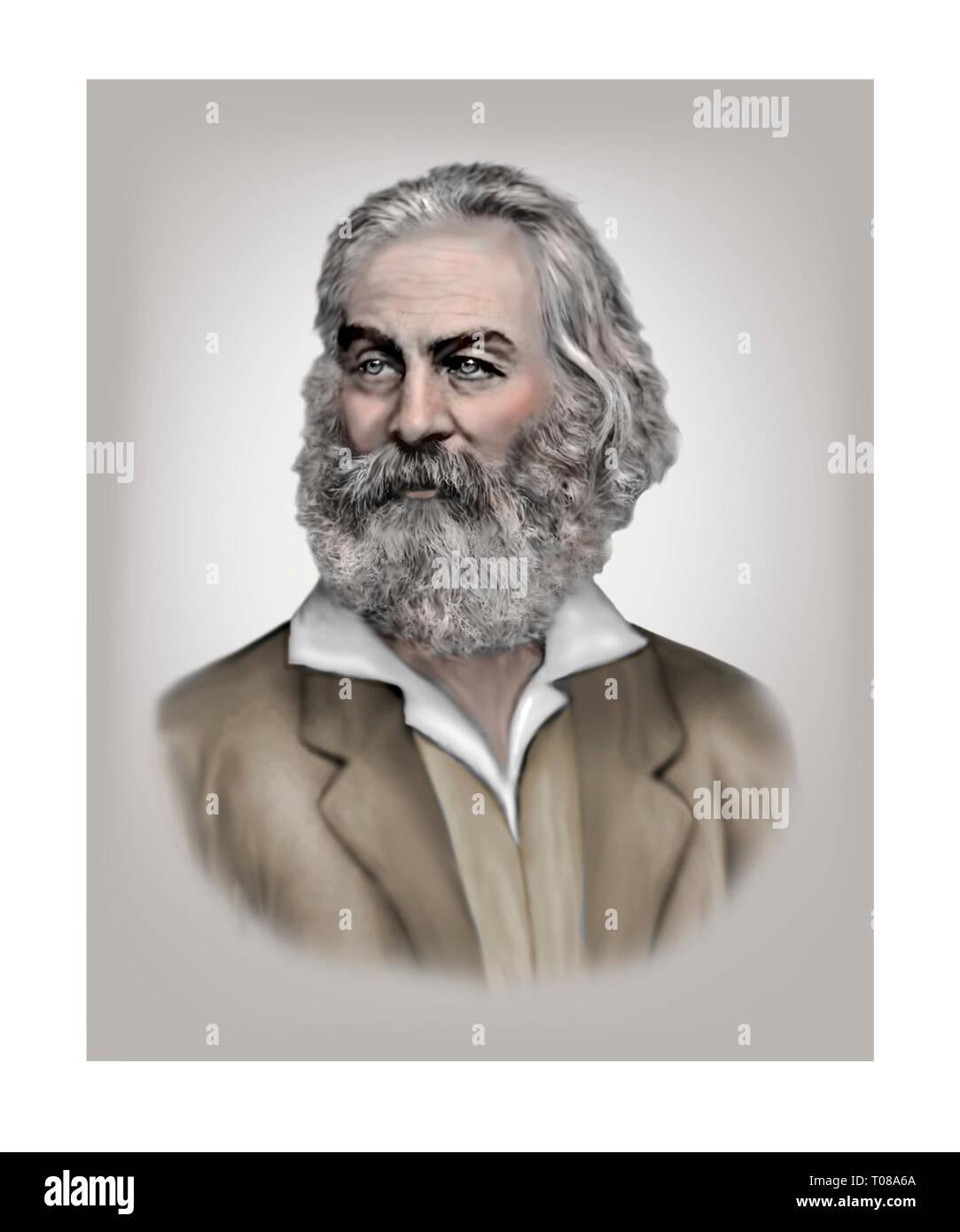 Walt Whitman, poète américain 1819-1892 Journaliste essayiste Banque D'Images
