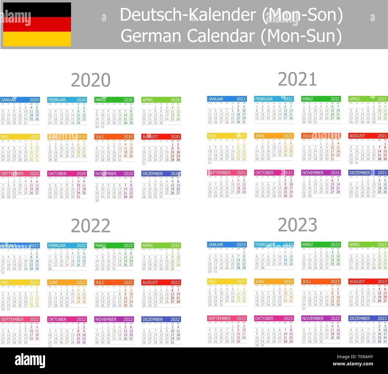 Calendrier Allemand 2020.Allemand 2020 2023 Calendrier De Type 1 Du Lundi Au