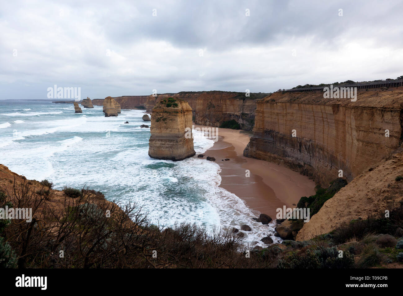 Voir la soirée de 'Les douze apôtres, Port Campbell National Park, Victoria, Australie Photo Stock