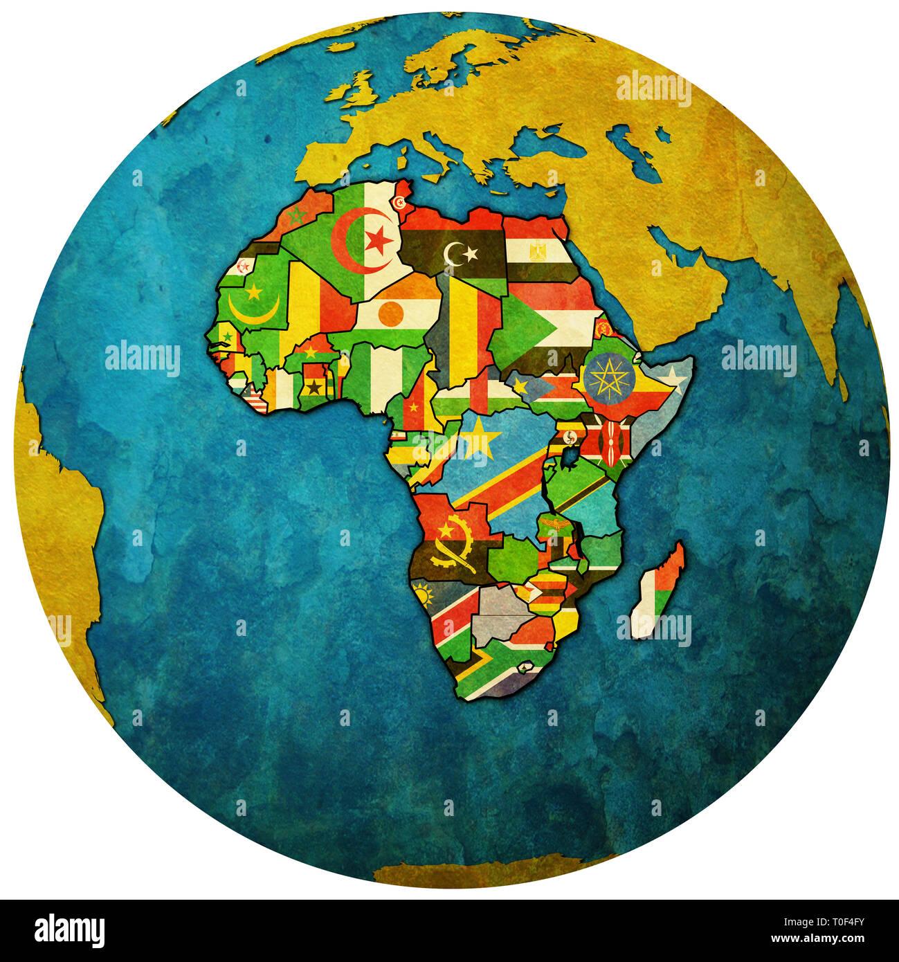 Carte Union Africaine.Globe Carte Avec Une Carte Politique De L Union Africaine