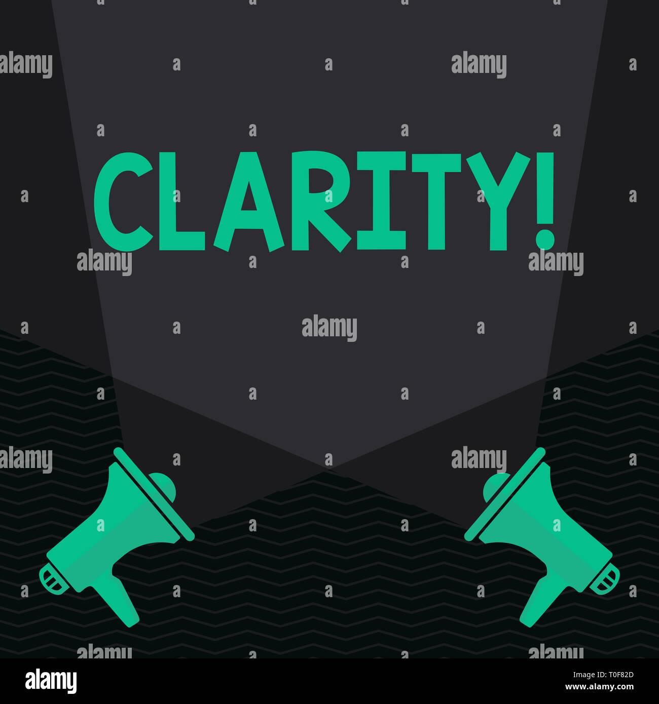 Main conceptuel écrit montrant la clarté. Sens Concept Pureté Précision Certitude Clarté Exactitude transparence jusqu'entrecroisent Spotlight Photo Stock