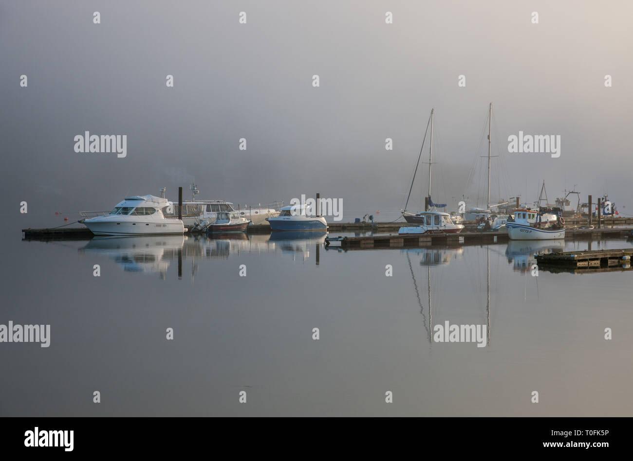 Crosshaven, co Cork, Irlande. Mar 20, 2019. Tôt le matin, le brouillard commence à se dissiper avec le soleil levant sur la marina au Royal Cork Yacht Club de Crosshaven, Espagne.- Crédit photo: David Creedon/Alamy Live News Photo Stock