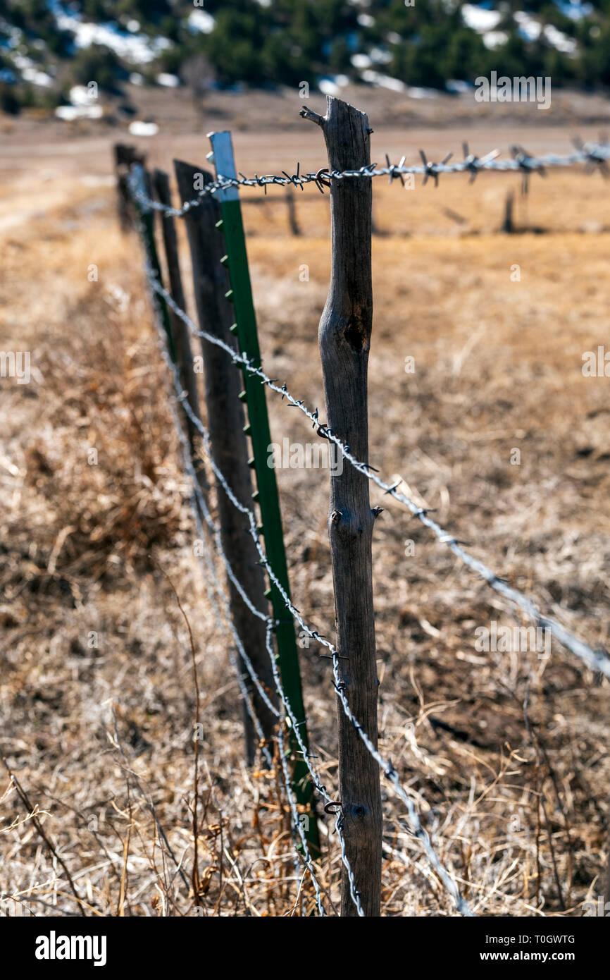 Close-up de barbelés et clôture en bois post; ranch dans le centre du Colorado, USA Banque D'Images