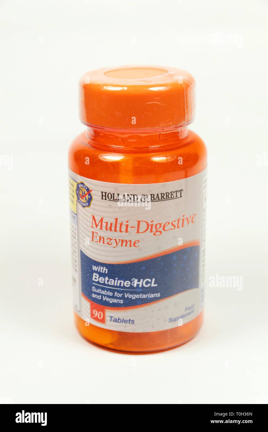 Bouteille de enzyme digestive. Photo Stock