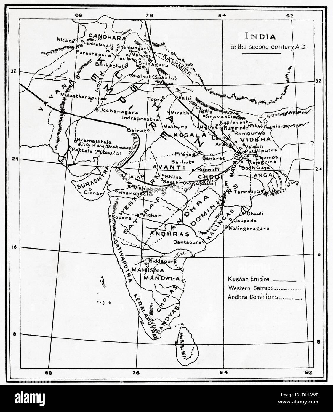 Carte de l'Inde dans le deuxième siècle de notre ère Photo Stock