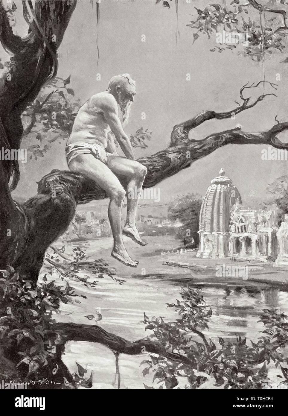 Impression d'Dhanga fin de règne, corps abandonnés Ganges et la rivière Yamuna Photo Stock