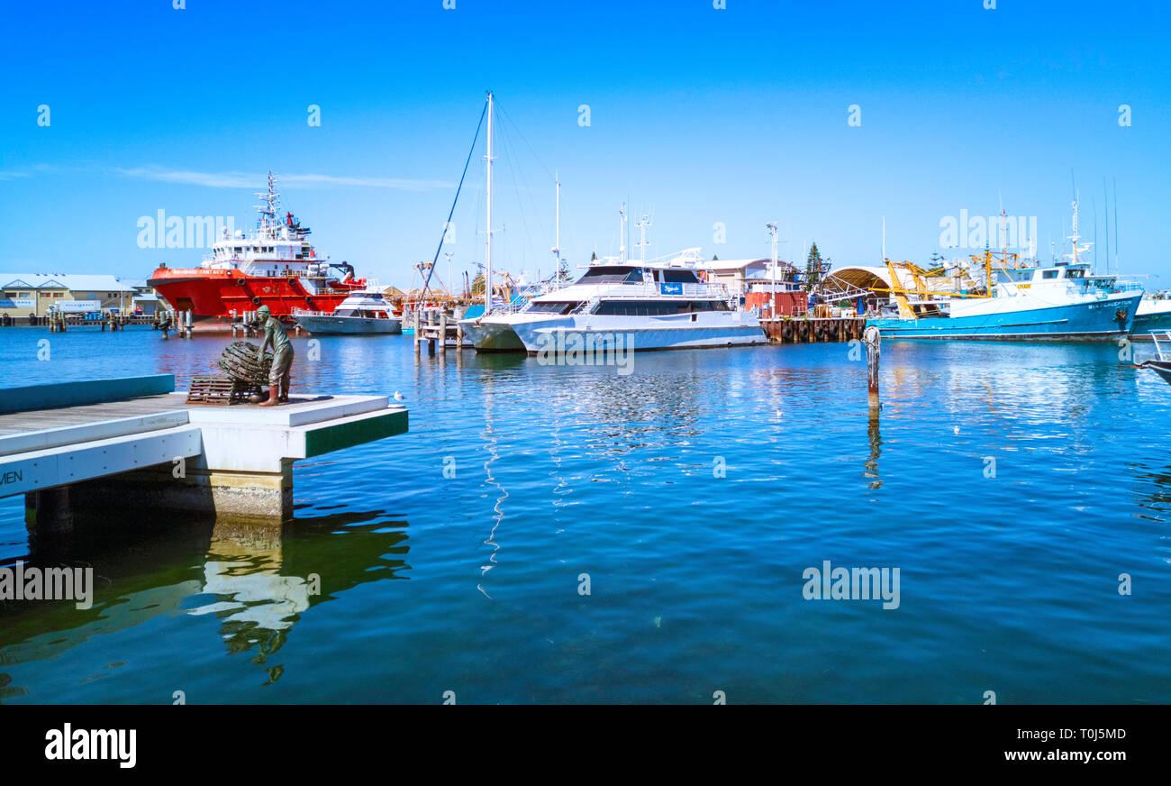 Bateau de pêche Fremantle Harbour. Fremantle, WA Photo Stock