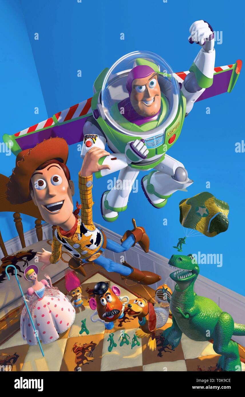 TOY STORY, Bo Peep, M. POTATO HEAD, Woody, Buzz Lightyear, Slinky Dog , REX, 1995 Banque D'Images